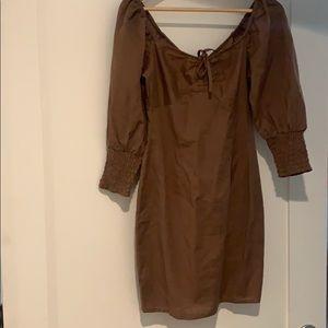 Asos linen smocked puff sleeve dress